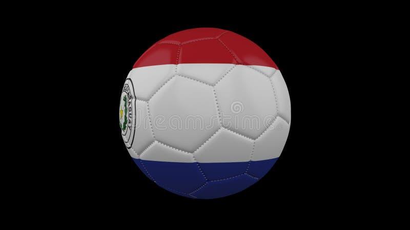 Fotbollboll med flaggan Paraguay, tolkning 3d stock illustrationer