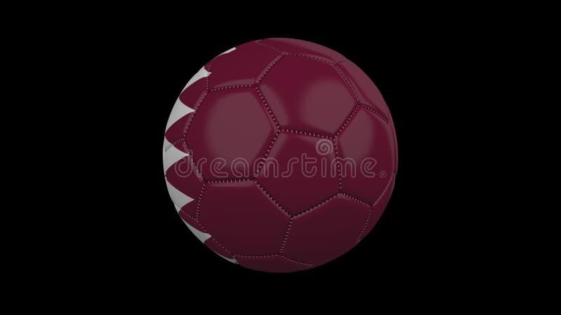Fotbollboll med flaggan Qatar, tolkning 3d royaltyfri illustrationer