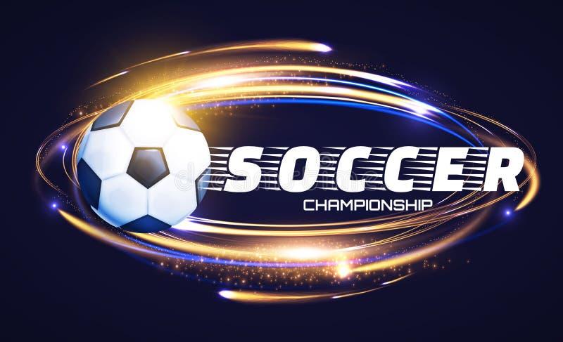 Fotbollboll med ljusa effekter Fotbollmaktdesign royaltyfri illustrationer
