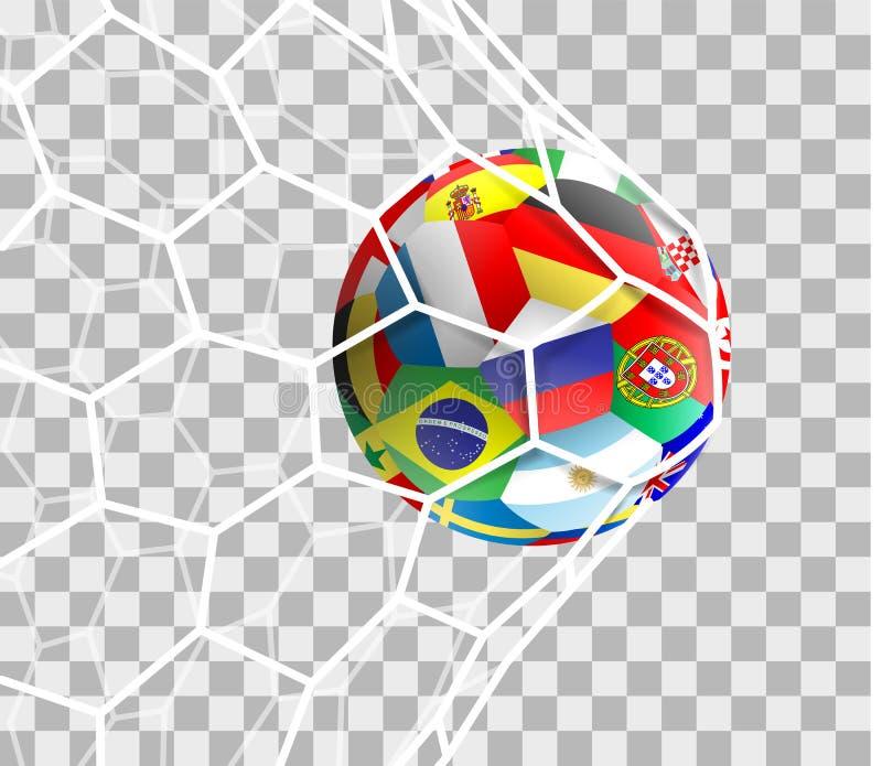 Fotbollboll med olika nationsflaggor i den netto isolerade vektorn för mål royaltyfri illustrationer