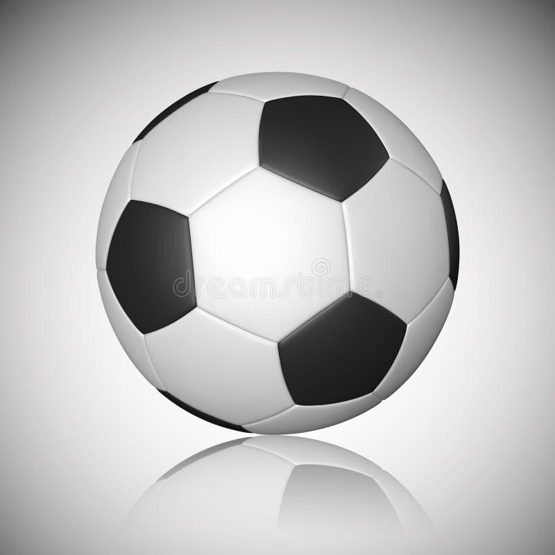 Fotbollboll, fotbollboll, modell, med reflexion på grå bakgrund också vektor för coreldrawillustration royaltyfri illustrationer