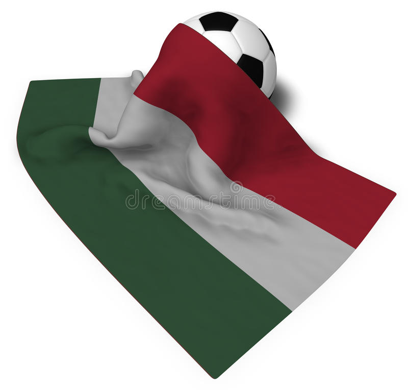 Fotbollboll och flagga av Ungern stock illustrationer
