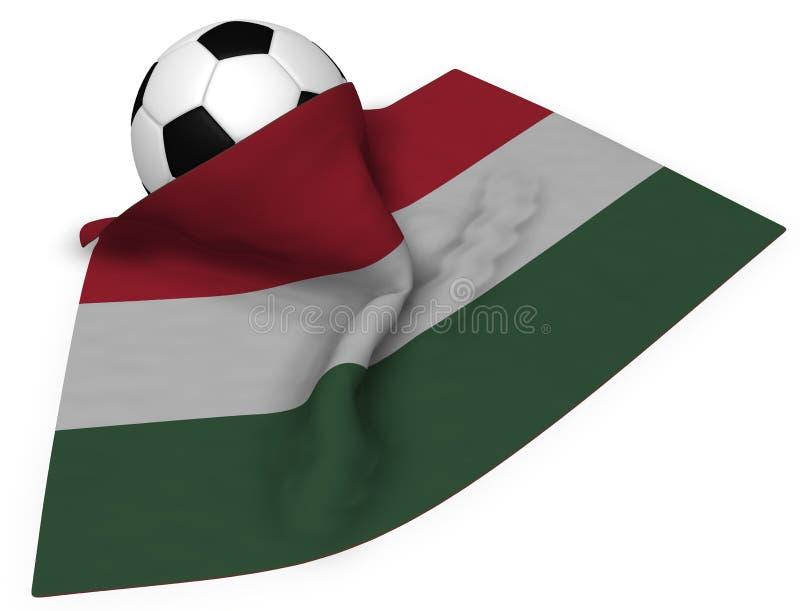 Fotbollboll och flagga av Ungern vektor illustrationer