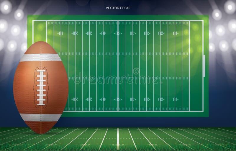 Fotbollboll på bakgrund för stadion för fotbollfält stock illustrationer