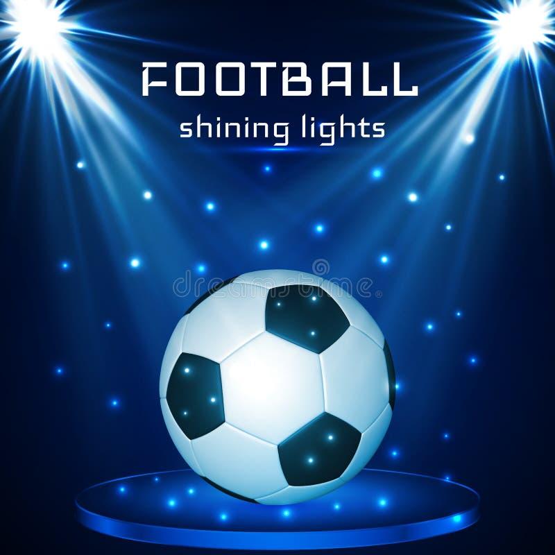 Fotbollboll, fotbollboll på blå bakgrund i ljuset av strålkastare också vektor för coreldrawillustration royaltyfri illustrationer