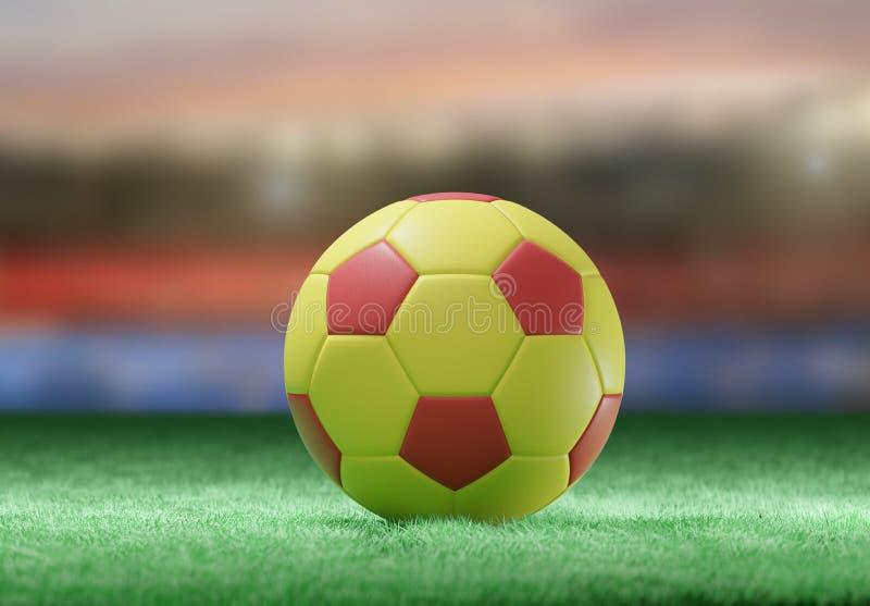 Fotbollboll på fältet av en stadion - tolkning 3d stock illustrationer