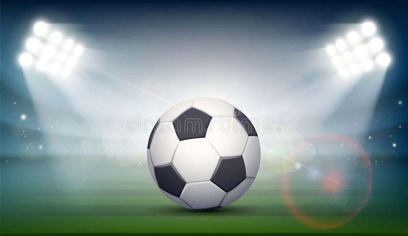 Fotbollboll på fältet av stadion royaltyfri illustrationer
