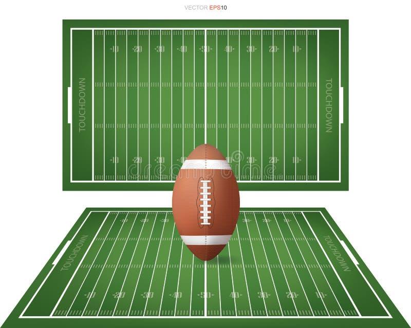 Fotbollboll på fotbollfält med linjen modellområde för bakgrund stock illustrationer