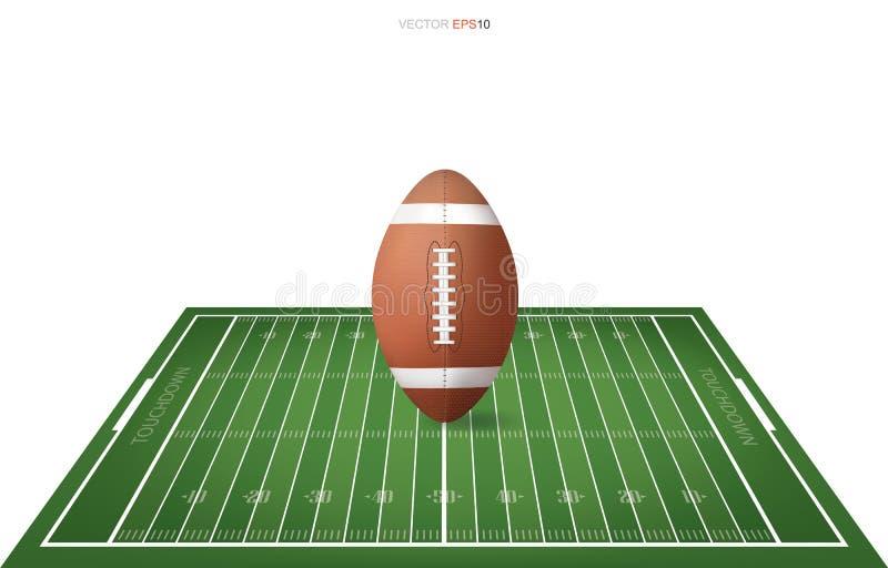 Fotbollboll på fotbollfält med linjen modellområde för bakgrund royaltyfri illustrationer