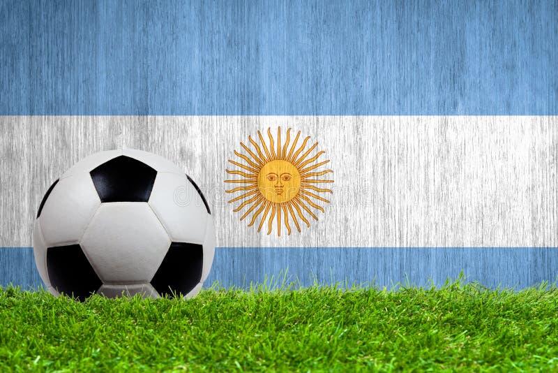 Fotbollboll på gräs med den Argentina flaggan royaltyfria bilder