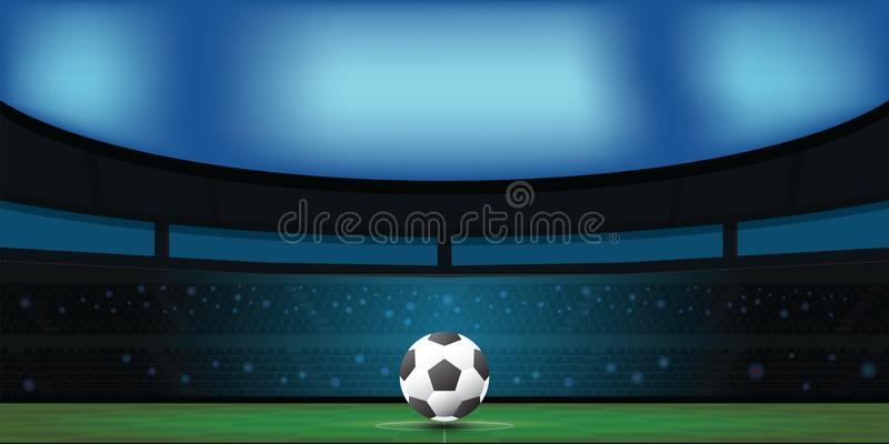 Fotbollboll på grön stadion i natt vektor illustrationer