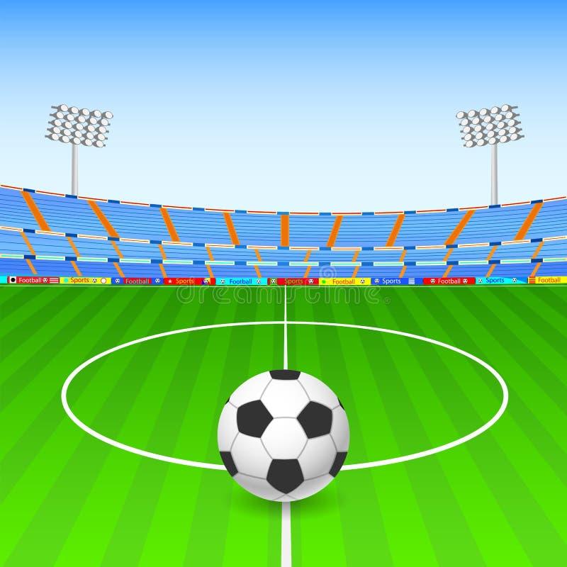 Fotbollboll på stadion vektor illustrationer