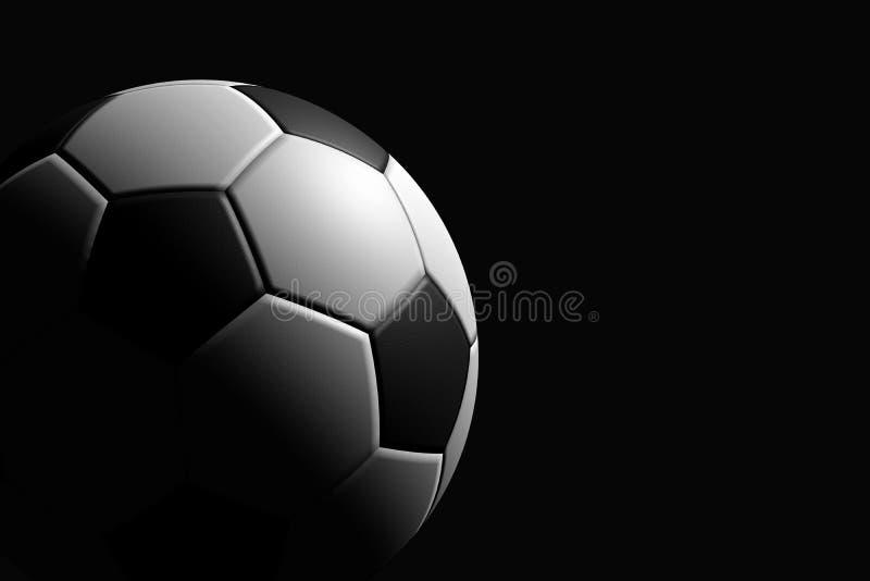 Fotbollboll på svart bakgrund, tolkning 3D royaltyfri illustrationer