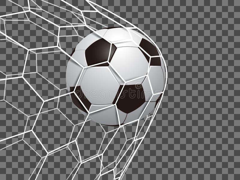 """Fotbollboll in som är netto vektor på för en genomskinlig bakgrunds†"""" royaltyfri illustrationer"""