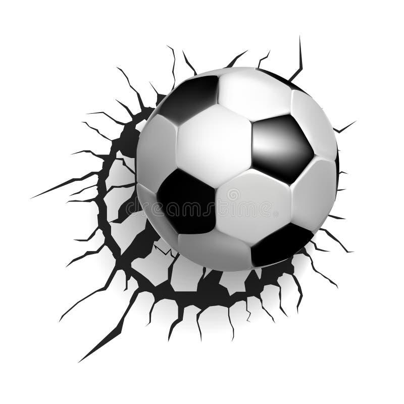 Fotbollboll som bryter väggen stock illustrationer