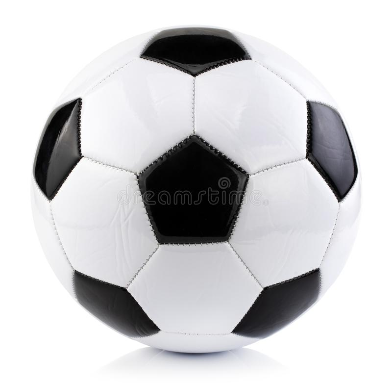 Fotbollboll som isoleras p? vit bakgrund med den snabba banan royaltyfria foton