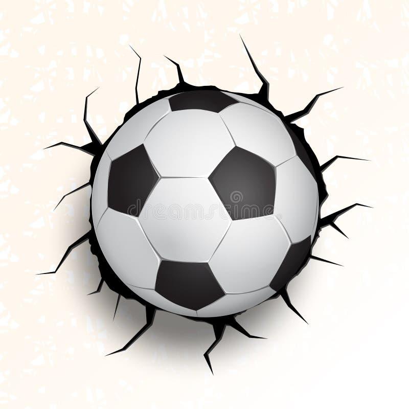 Fotbollboll som kommer i sprucken vägg vektor illustrationer