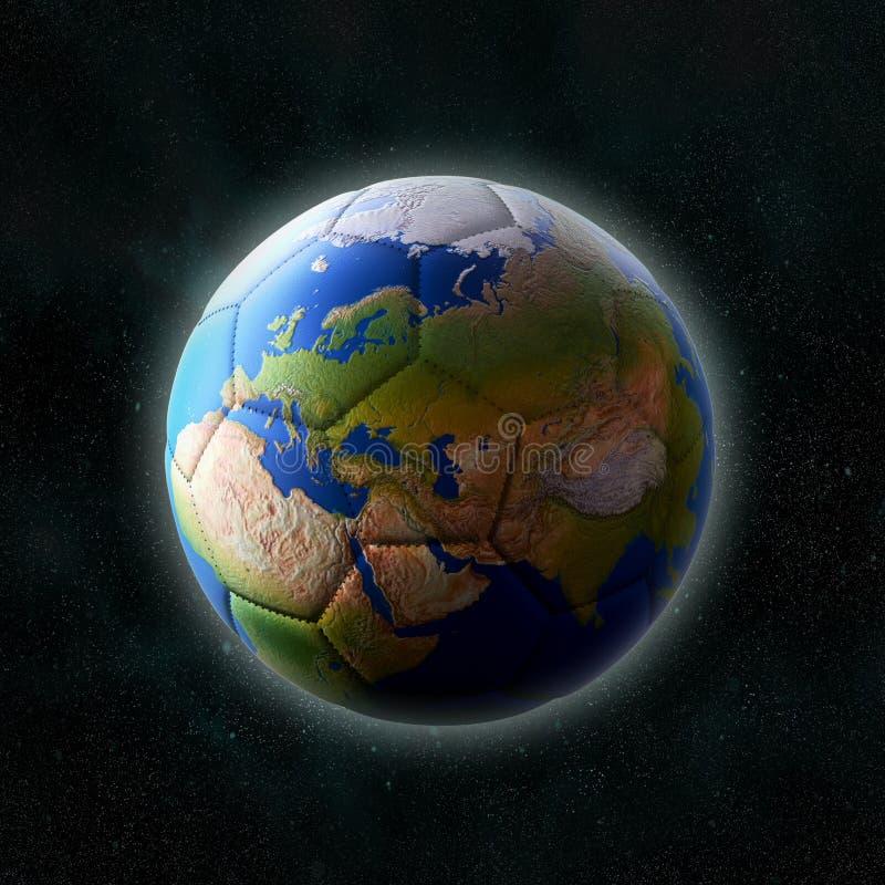 Fotbollboll som planetjord vektor illustrationer