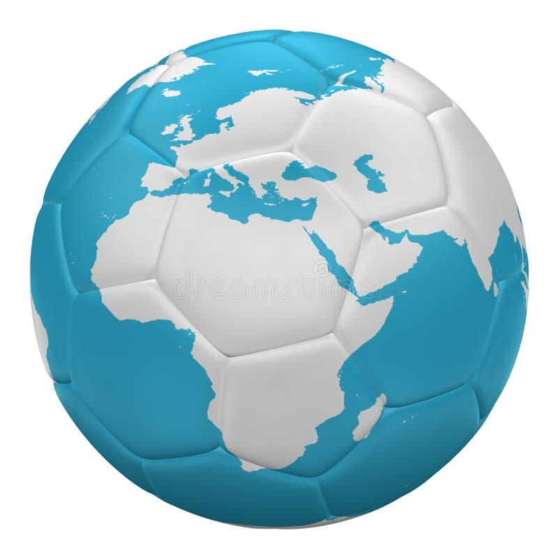 Fotbollboll som planetjord framf?rande 3d vektor illustrationer