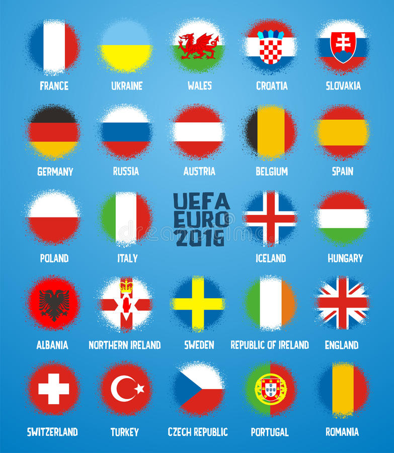 Fotbollbollar i flaggasymbol av laget i fotboll Frankrike 2016 stock illustrationer