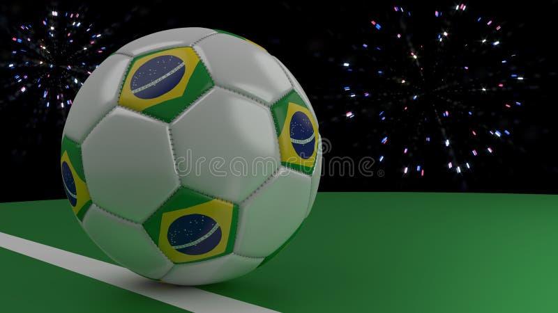 Fotbollbollen med flaggan av Brasilien korsar mållinjen under honnören, tolkningen 3D stock illustrationer