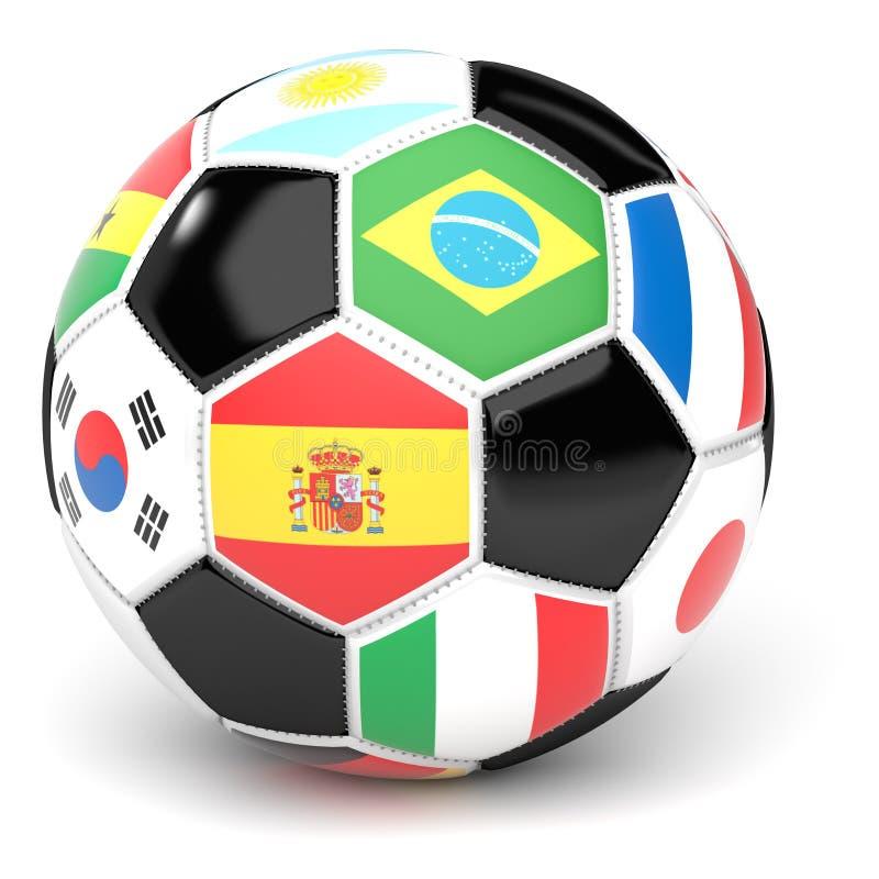 Fotbollbollen med flaggor 3D framför vektor illustrationer
