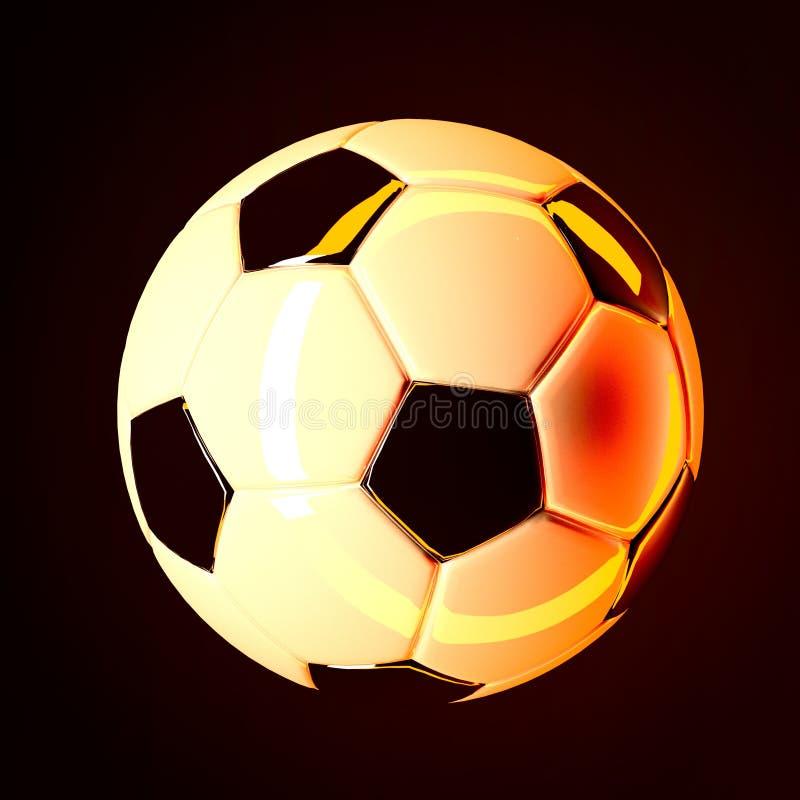 Fotbollbollen på mörk bakgrund 3d framför royaltyfri illustrationer