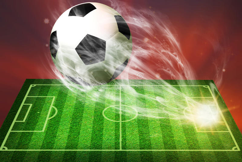 Fotbollbollflyg från fotbollfält stock illustrationer