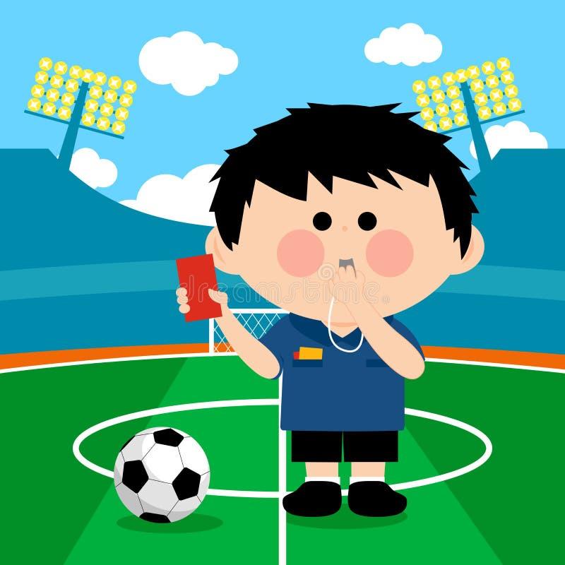 Fotbolldomare på en stadion stock illustrationer