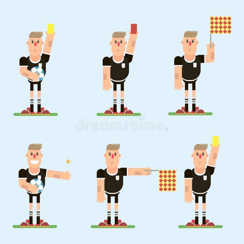 Fotbolldomaretecken vektor illustrationer