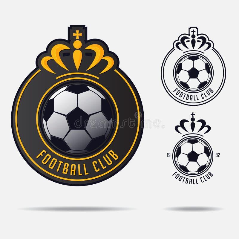 Fotbollemblem eller fotbollemblem Logo Design för fotbollslag stock illustrationer