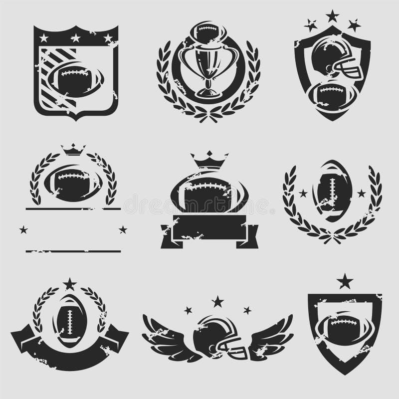 Fotbolletikett- och symbolsuppsättning vektor stock illustrationer