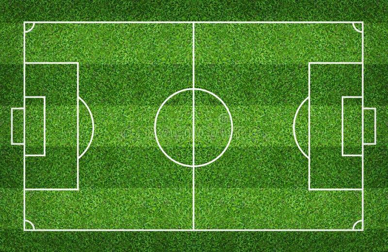 Fotbollfält eller fotbollfält för bakgrund Den gröna gräsmattadomstolen för skapar leken royaltyfri foto