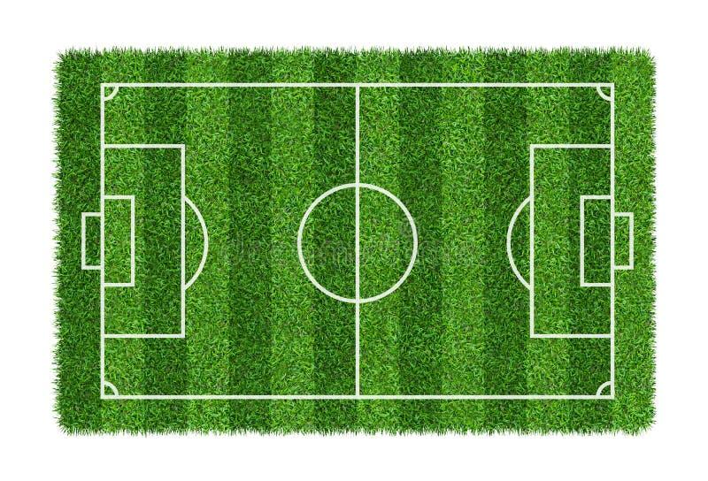 Fotbollfält eller fotbollfält på modelltextur för grönt gräs som isoleras på vit bakgrund royaltyfri illustrationer