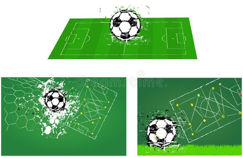 Fotbollfält för fotboll O fotbollillustrationer vektor illustrationer
