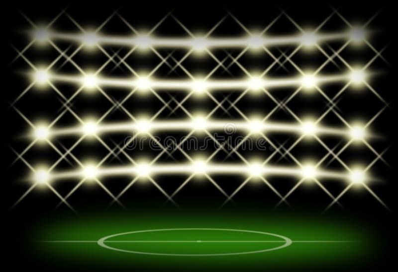 Fotbollfält i mörker med strålkastarebakgrund royaltyfri illustrationer