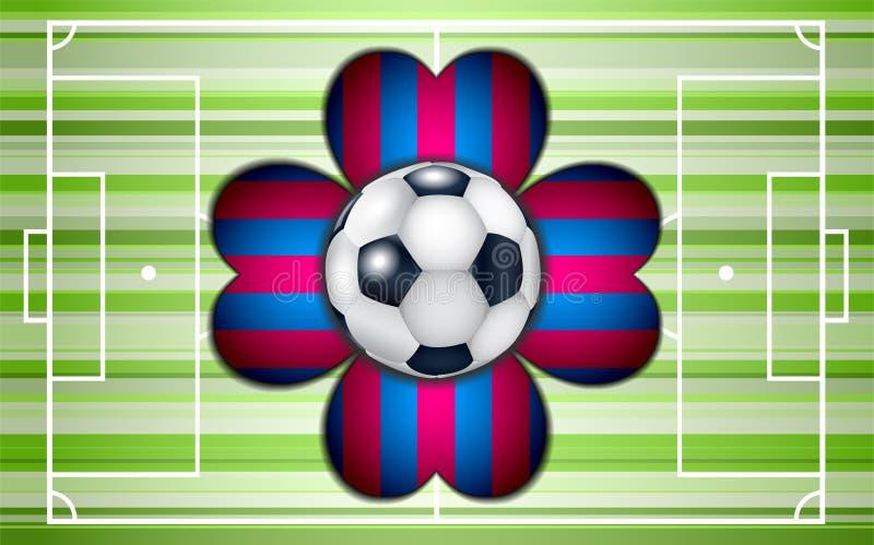 Fotbollfält med bollen och blomman vektor illustrationer