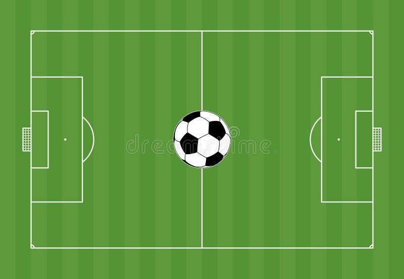 Fotbollfält med fotboll royaltyfri illustrationer