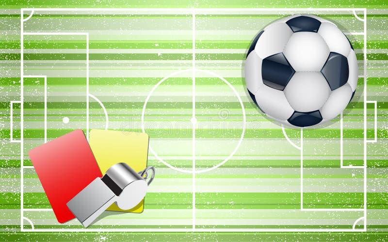 Fotbollfält med fotbolluppsättningen royaltyfri illustrationer