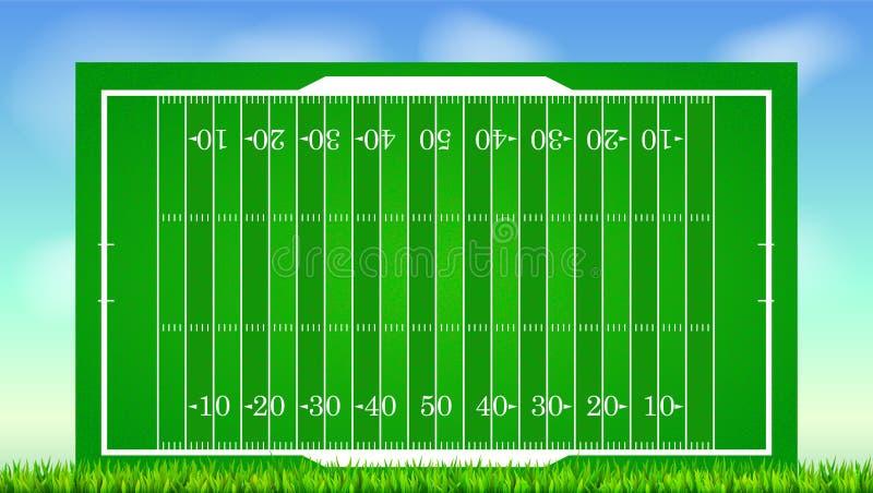 Fotbollfält med gräs på den blåa bakgrunden av himmel Bakgrund för affischer, baner med fältet för amerikansk fotboll med stock illustrationer