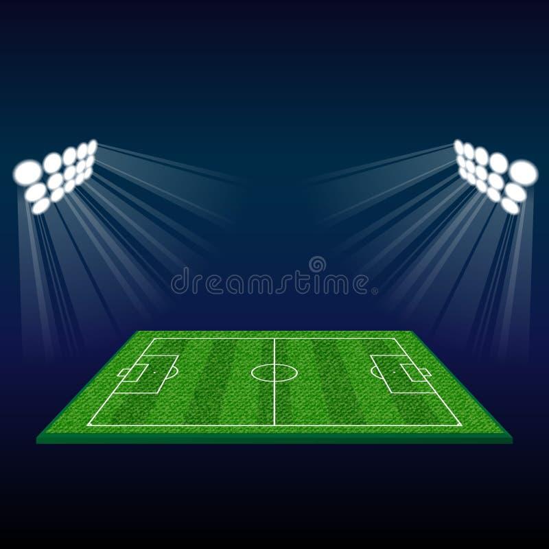 Fotbollfält med ljus stock illustrationer
