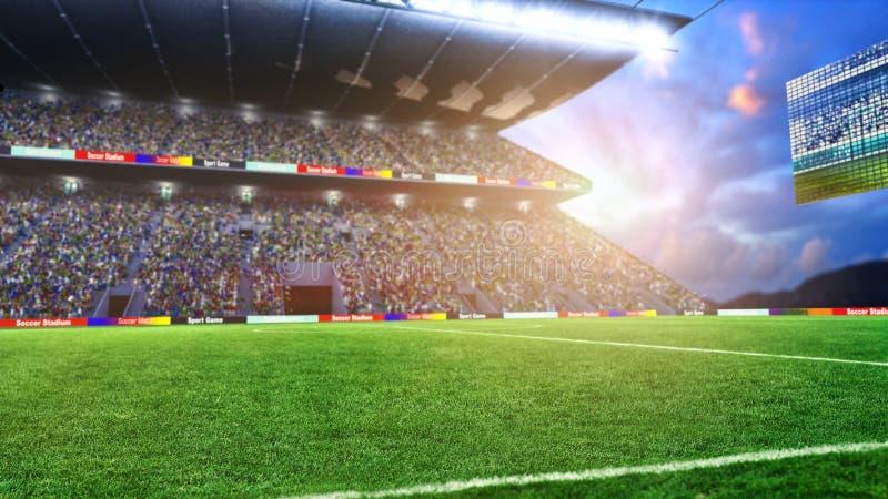 Fotbollfält med ljus och tolkningen för spectorspanorama 3d stock illustrationer