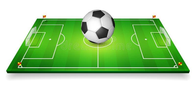 Fotbollfält, uppsättning för fotbollfält med fotbollbollen perspektivvektorillustration 10 eps stock illustrationer