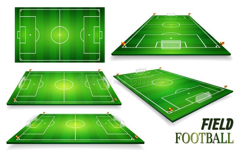 Fotbollfält, uppsättning för fotbollfält perspektivvektorillustration 10 eps Rum för kopierar vektor illustrationer