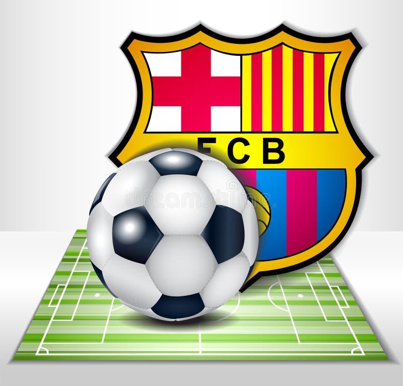 Fotbollfältet med bollen och fotboll klubbar den barcelona logoen stock illustrationer