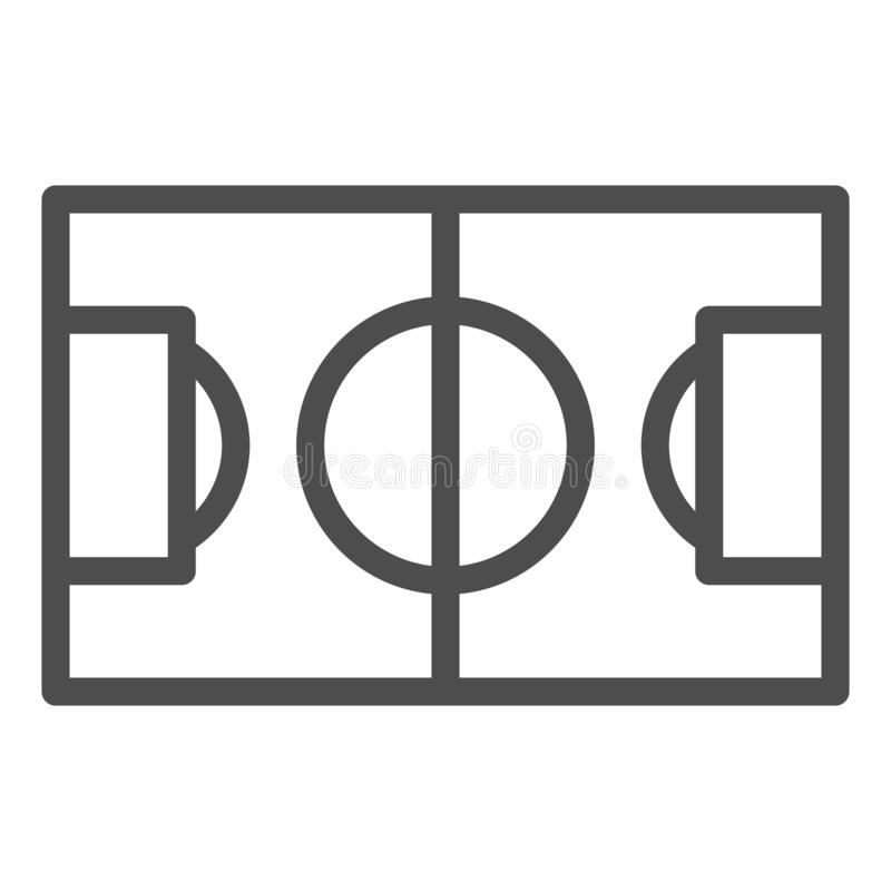 Fotbollf?ltlinje symbol Illustration f?r vektor f?r fotbollf?lt som isoleras p? vit Design f?r stadion?versiktsstil som planl?ggs vektor illustrationer