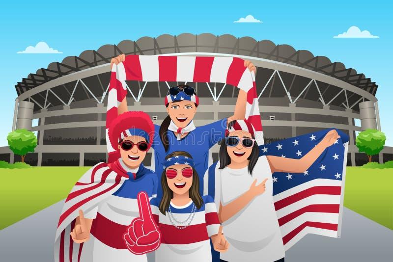 Fotbollfans förutom stadion royaltyfri illustrationer
