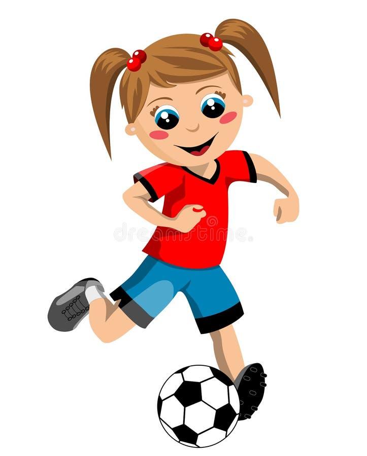 Fotbollflicka royaltyfri illustrationer