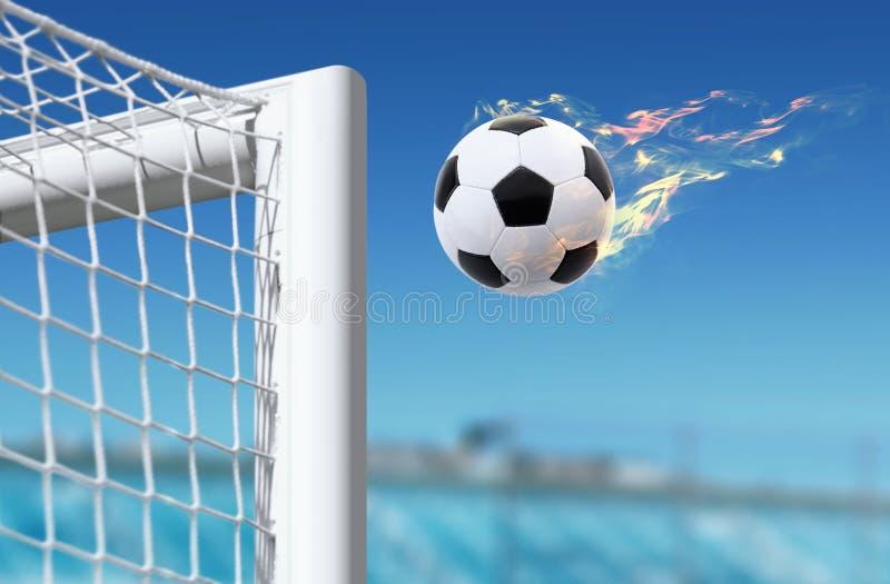 Fotbollflugor i målvaktport royaltyfri bild