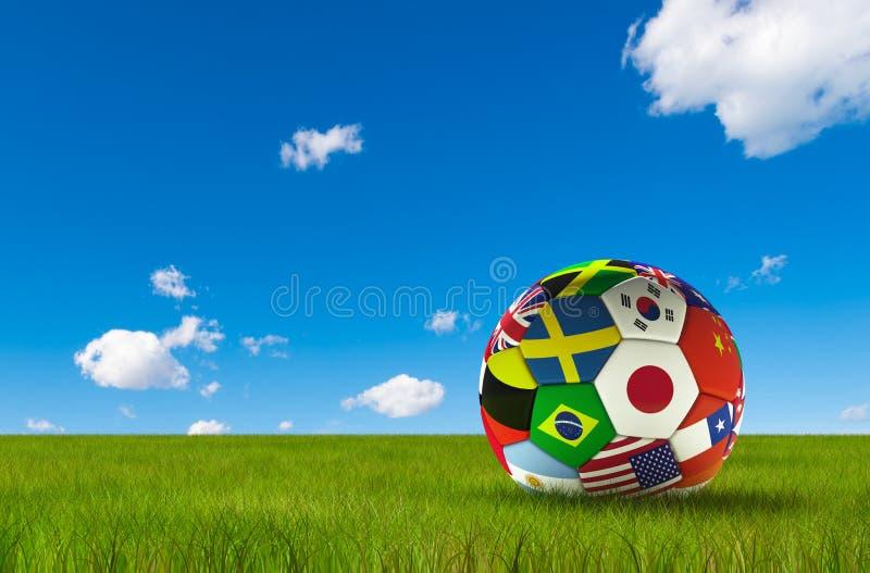 Fotbollfotboll med landsflaggor som isoleras på frodigt gräs och blå himmel Världsmästerskap royaltyfri illustrationer